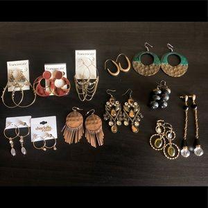 12 Drop Earrings lot Francescas & Charlotte Russe